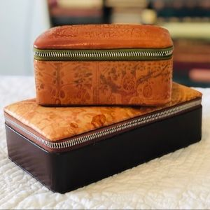 Other - Vintage leather zip jewelry boxes